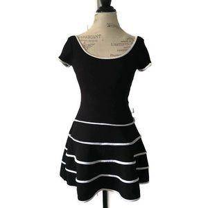 Aqua Black White Puff Dress Open Back